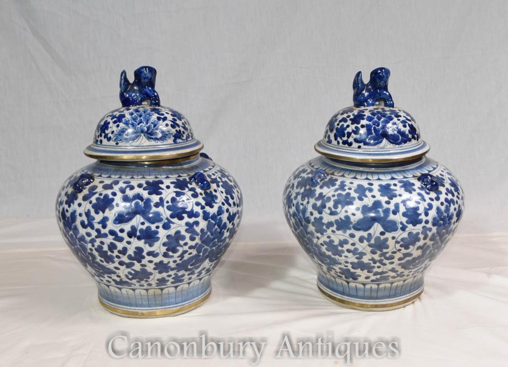 Paire d'urnes à couvercle chinois en porcelaine bleue et blanche