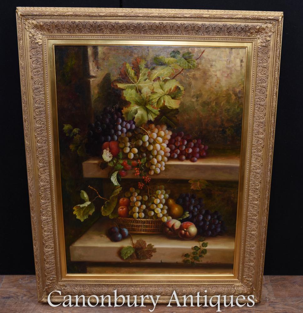 Peinture à l'huile victorienne Nature morte florale