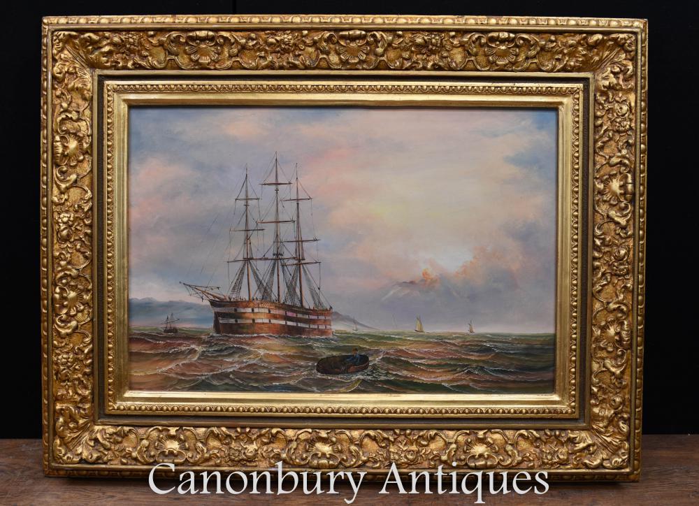 Peinture à l'huile victorienne Sea Scape maritime signé James Webb