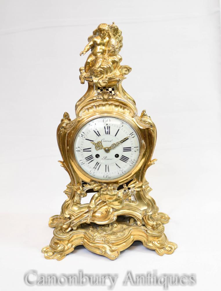 Pendule Antique Dorée en Or 18k, Chérubin Rococo 1880