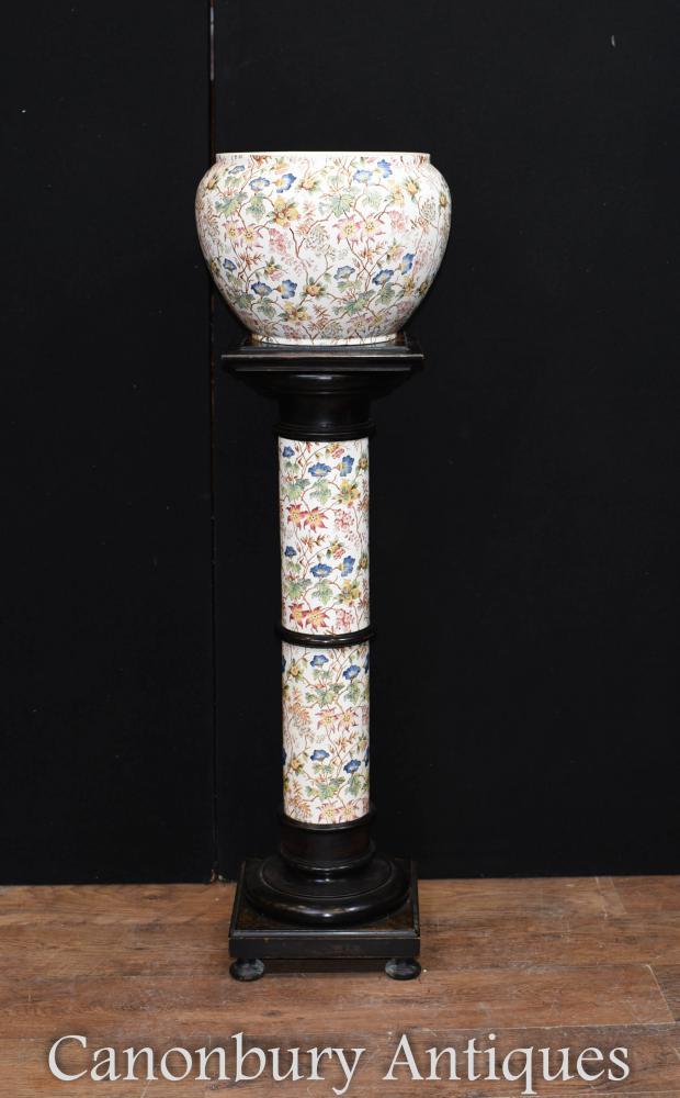 Planteur Floral de porcelaine victorienne sur le support de piédestal de colonne