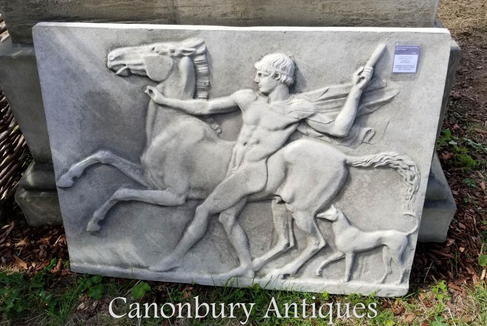 Plaque de pierre classique jeunesse et cheval panthéon grec
