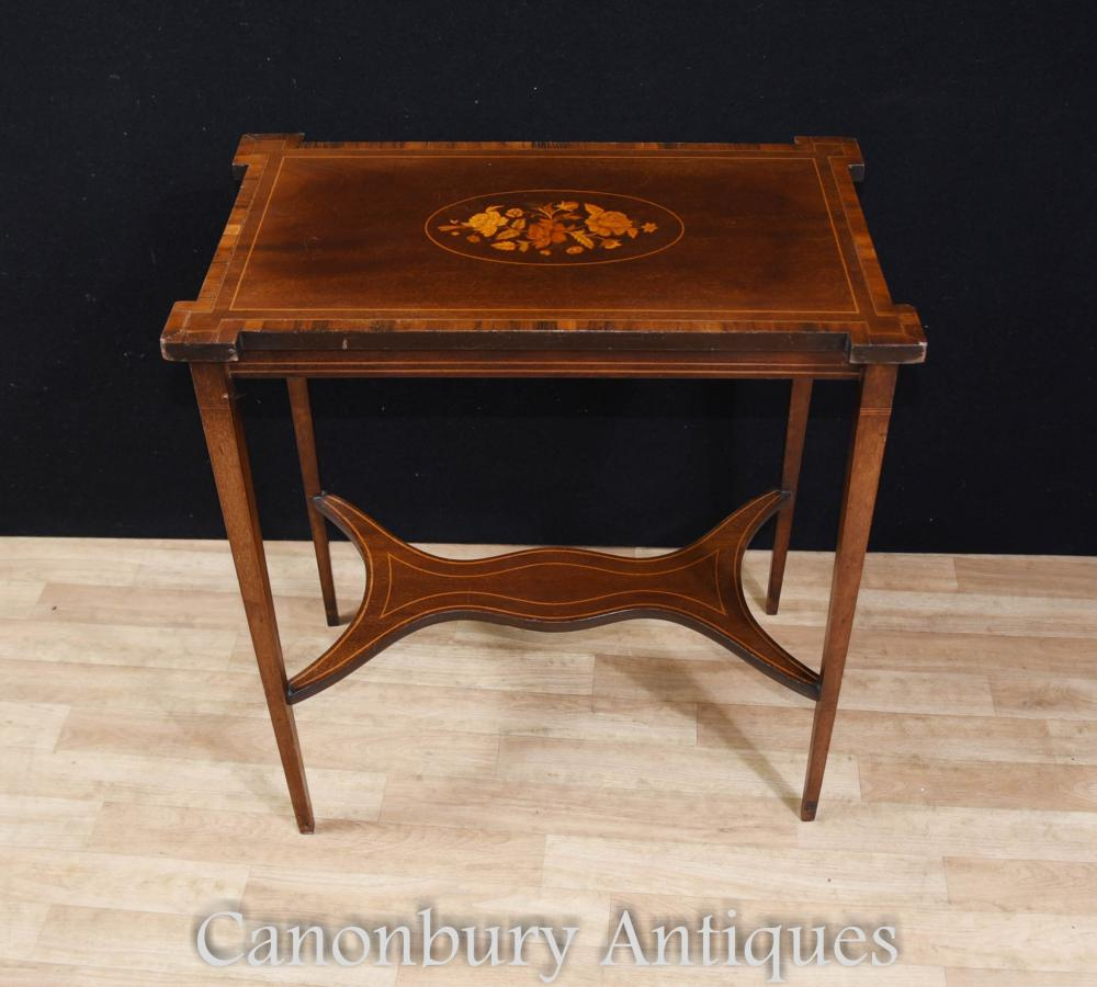 Regency Sheraton Table d'appoint en marqueteri