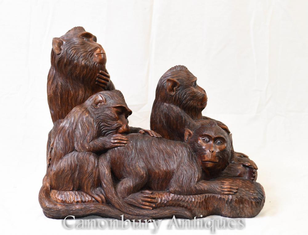 Sculpté à la main Singe Forêt Noire Chimpanzé Troop Gibbon