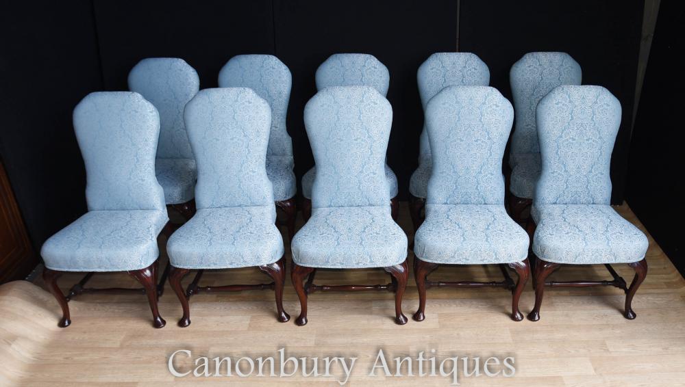 Set de 10 chaises de salle à manger victoriennes rembourrés