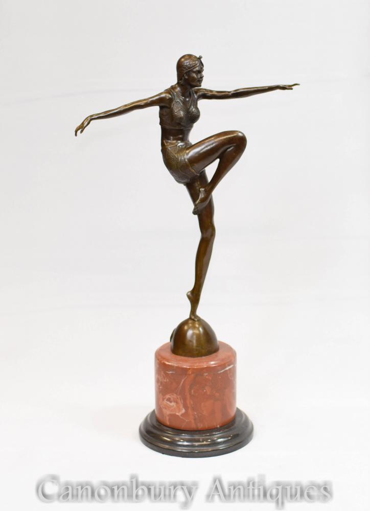 Statue Art Déco Bronze Danseuse Signée J Philippe