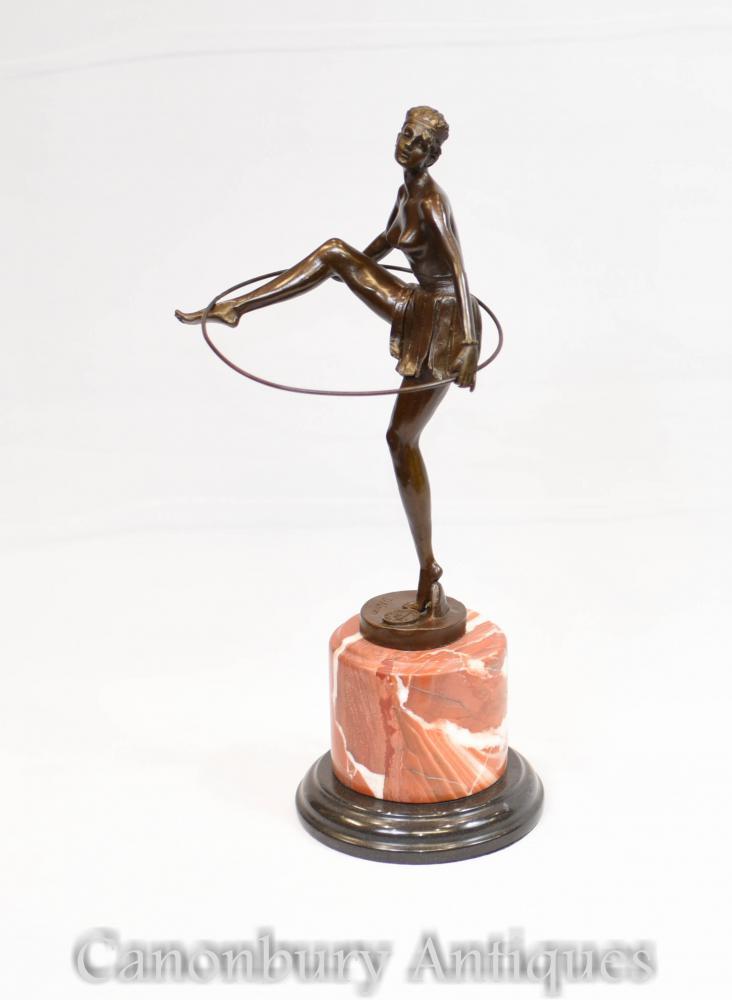 Statue de Danseur Hoop Art Déco Français Signée Alonzo Figurine