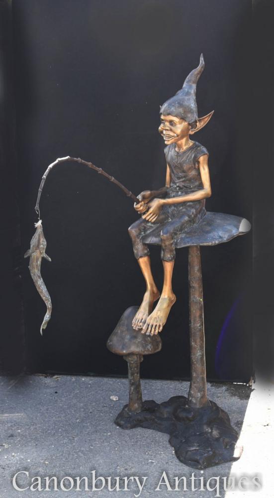 Statue de pêche de lutin de Pixie de bronze Pixies Fairey Elp