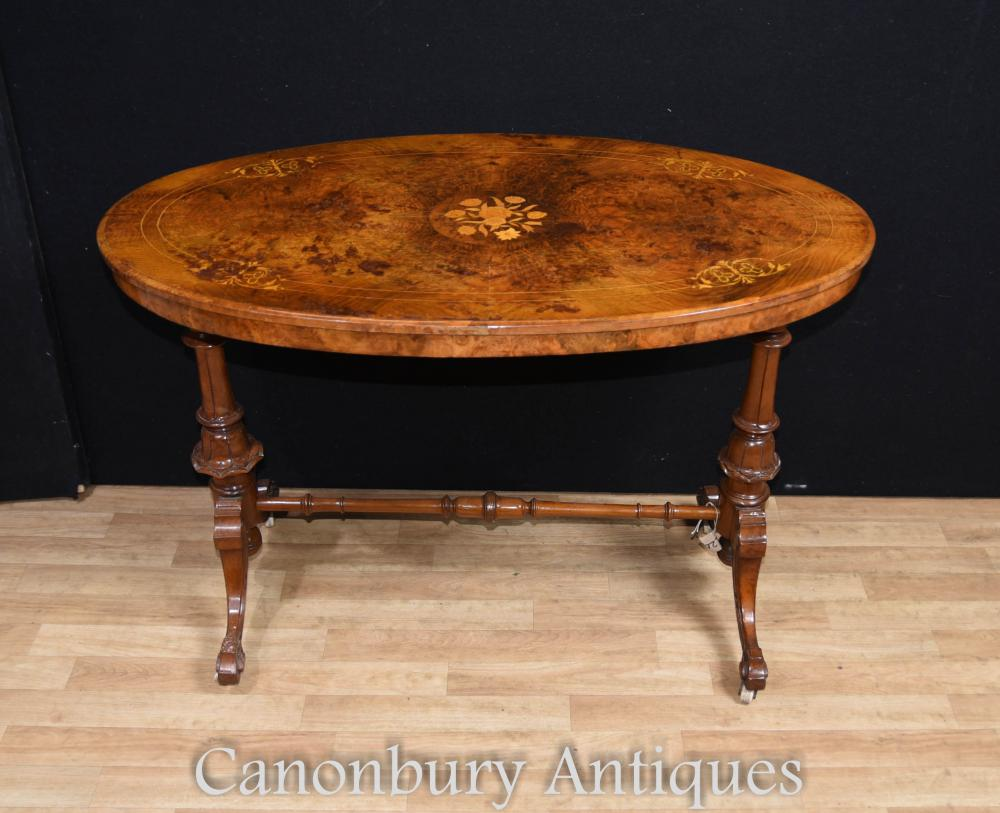 Table Basse Victorienne en Noyer Marqueterie