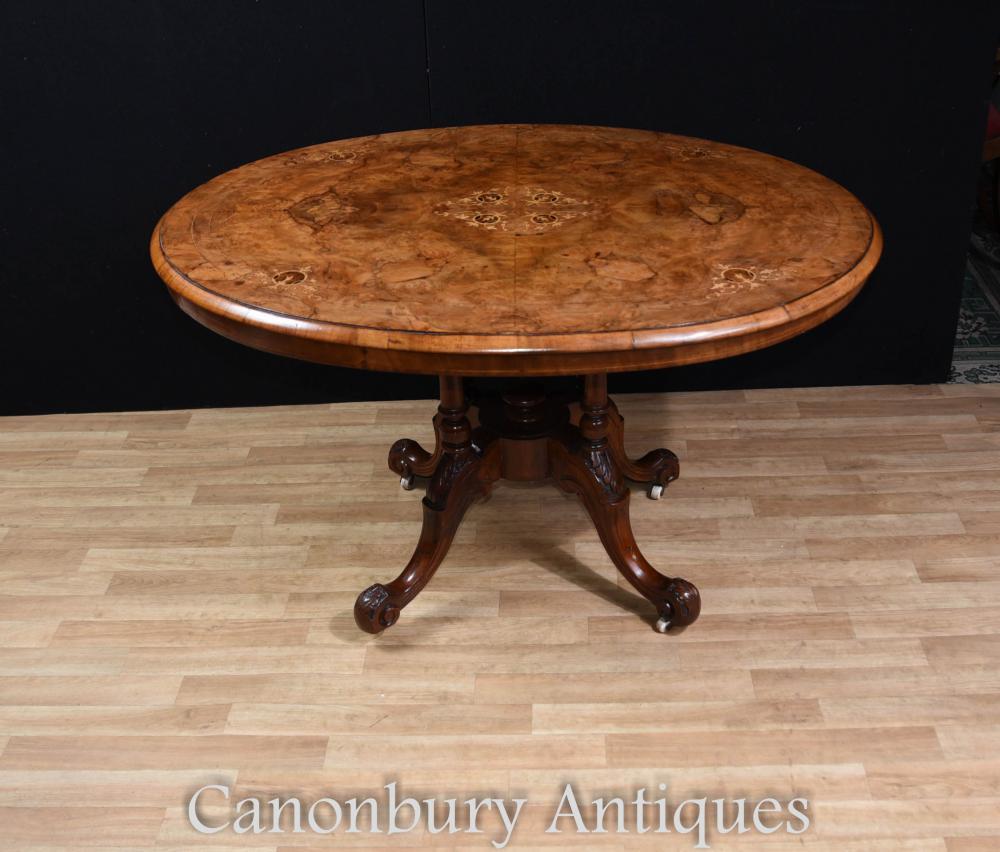 Table centrale victorienne en noyer Table Loo Marqueterie