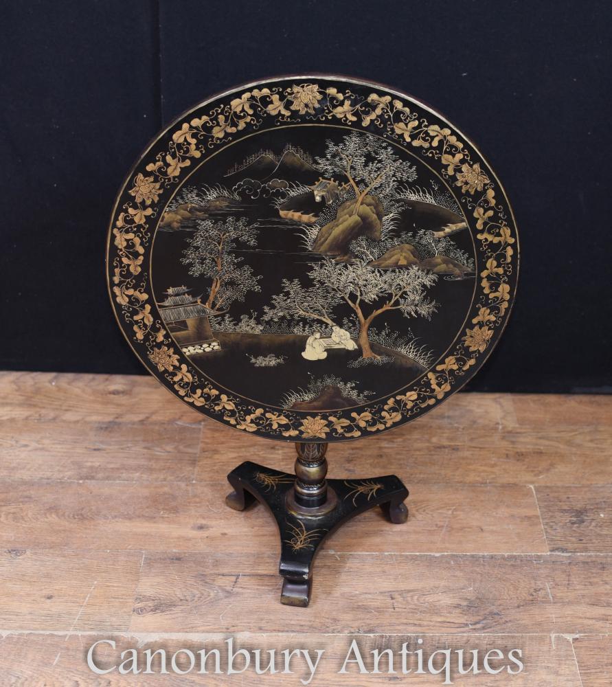 Table d'Appoint Laquée Noire Chinoiserie
