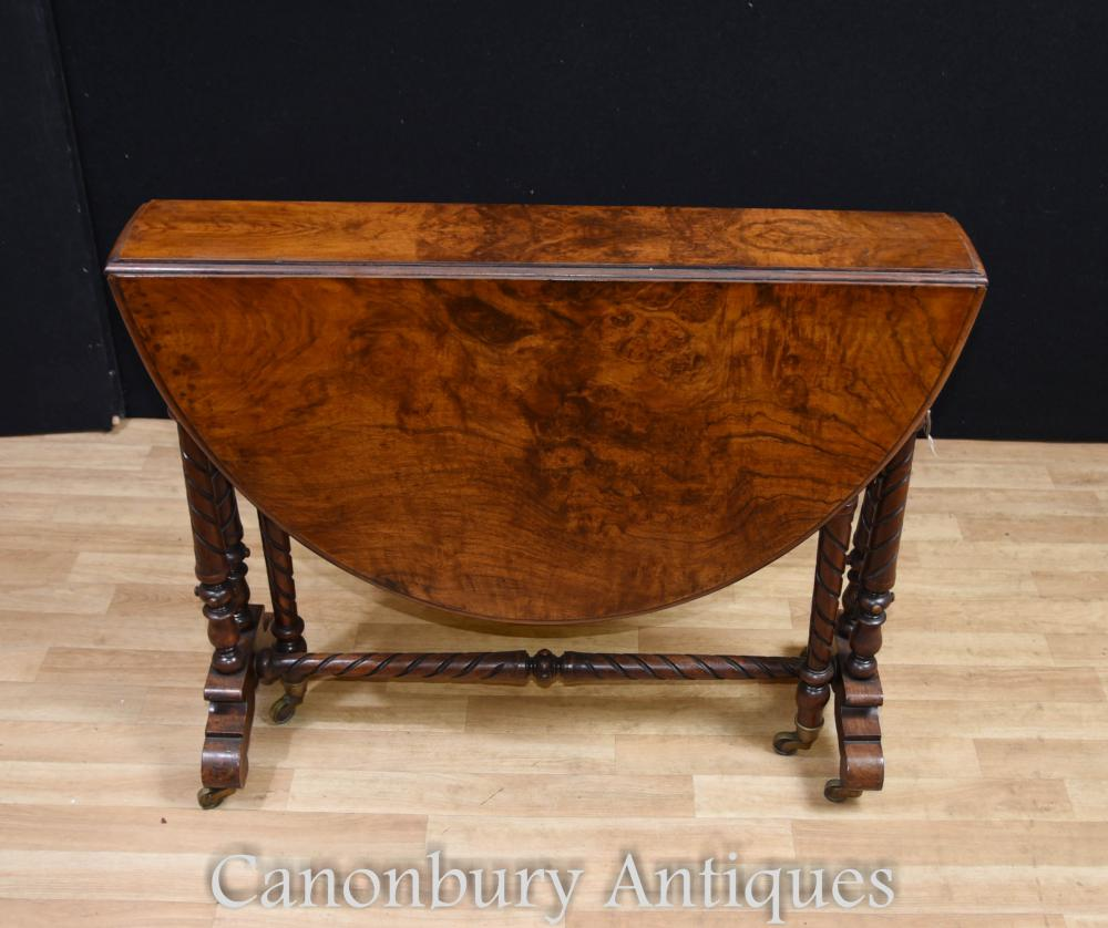 Table d'Appoint Victorian Burr Noyer