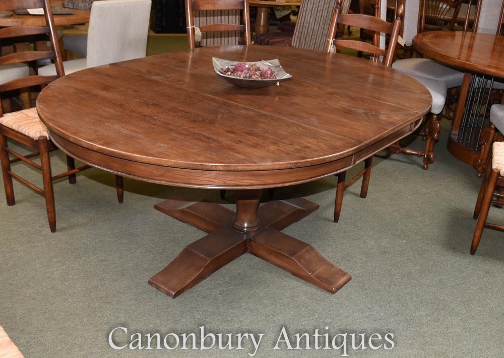 Table de réfectoire ovale en chêne