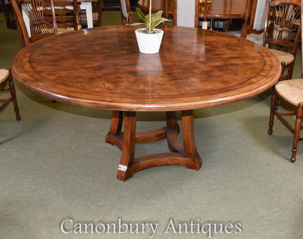 Table de salle à manger ronde réfectoire en bois de chêne