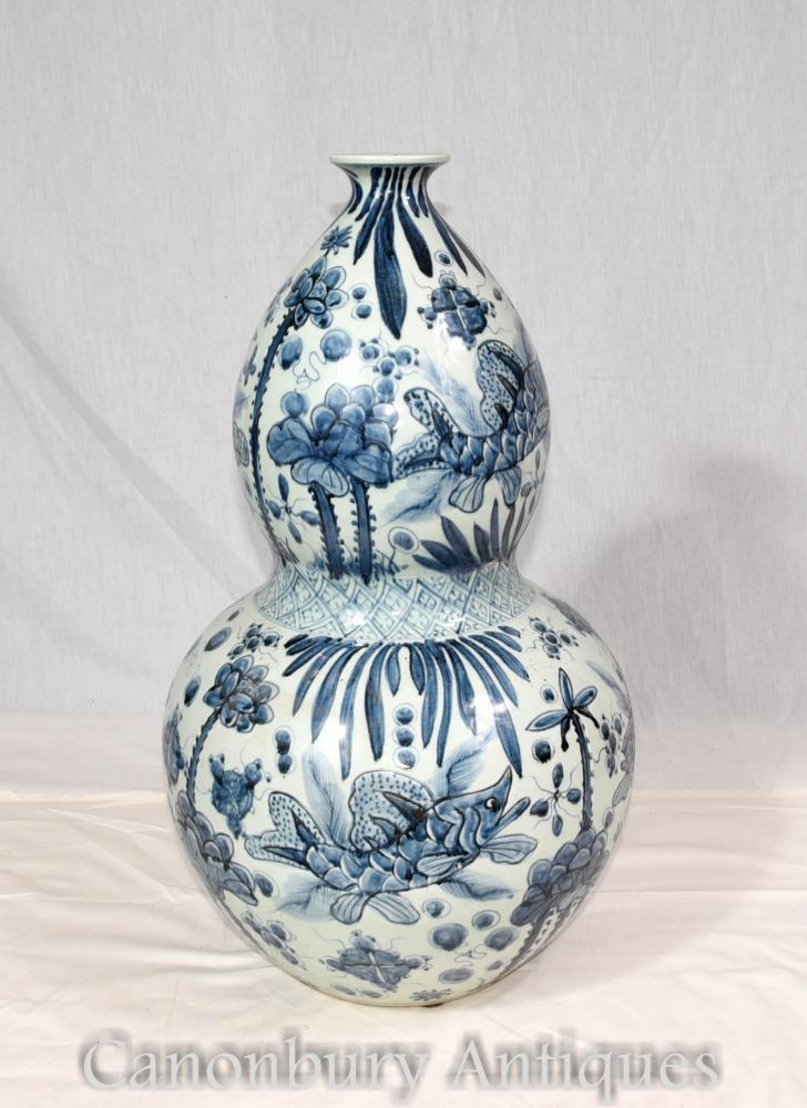 Urne de vase Nanking en porcelaine chinoise bleue et blanche