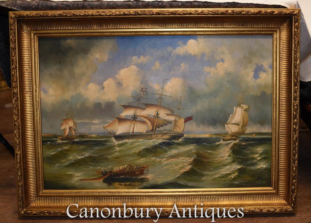 Victoria Seascape maritime navire de peinture à l'huile galleon cadre doré