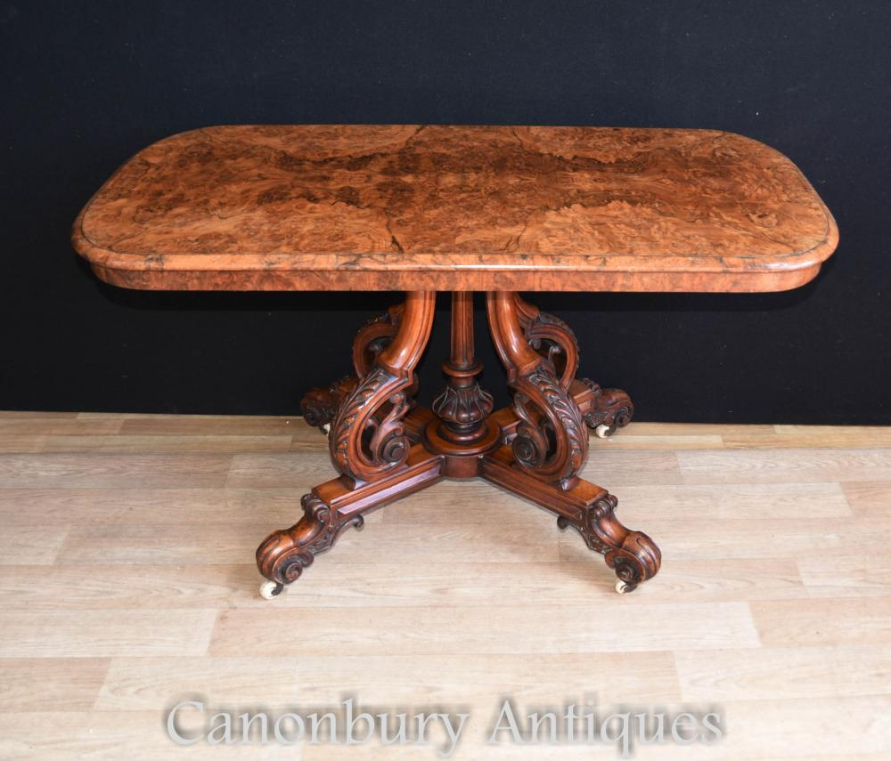 Victorian Burr Noyer Table d'appoint 1880