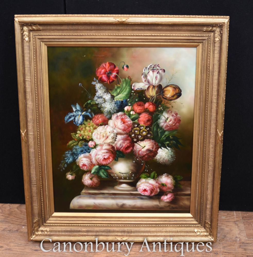 Victorian Floral Spray Nature morte peinture à l'huile cadre doré