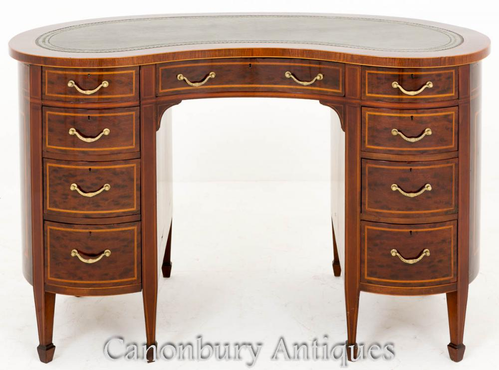 Victorian Plum Pudding Mahogany Kidney Desk Writing Table