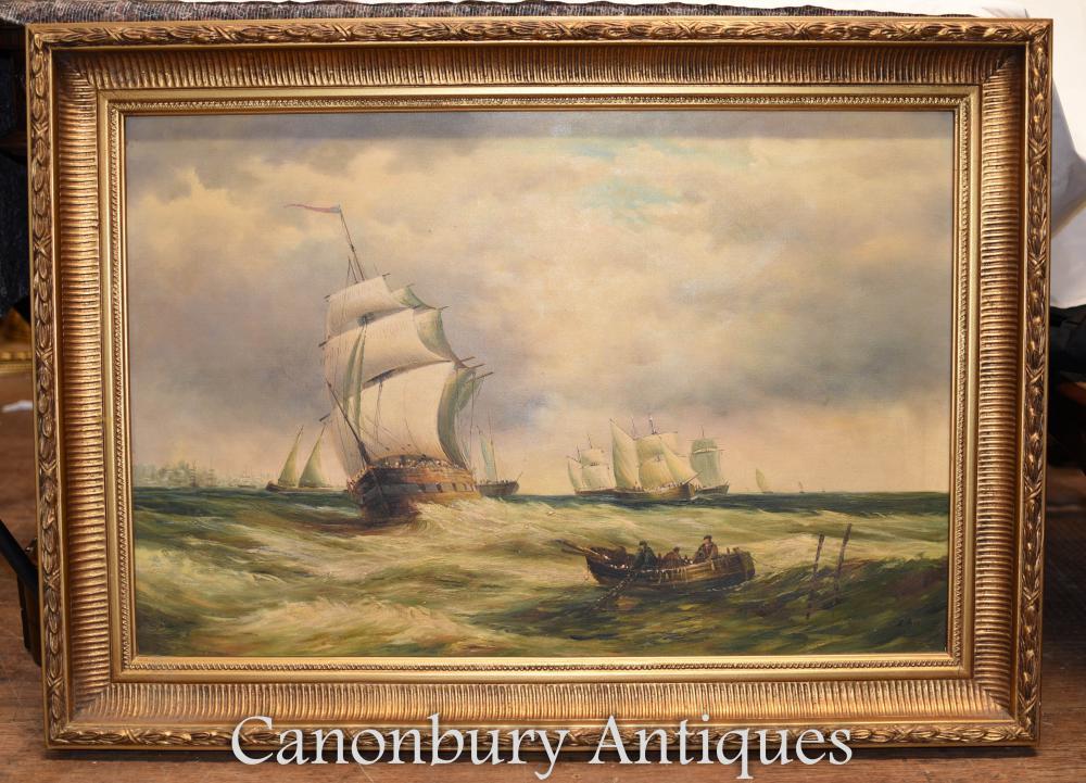 Victorien peinture à l'huile paysage marin Maritime Galleon navire signé A Hess