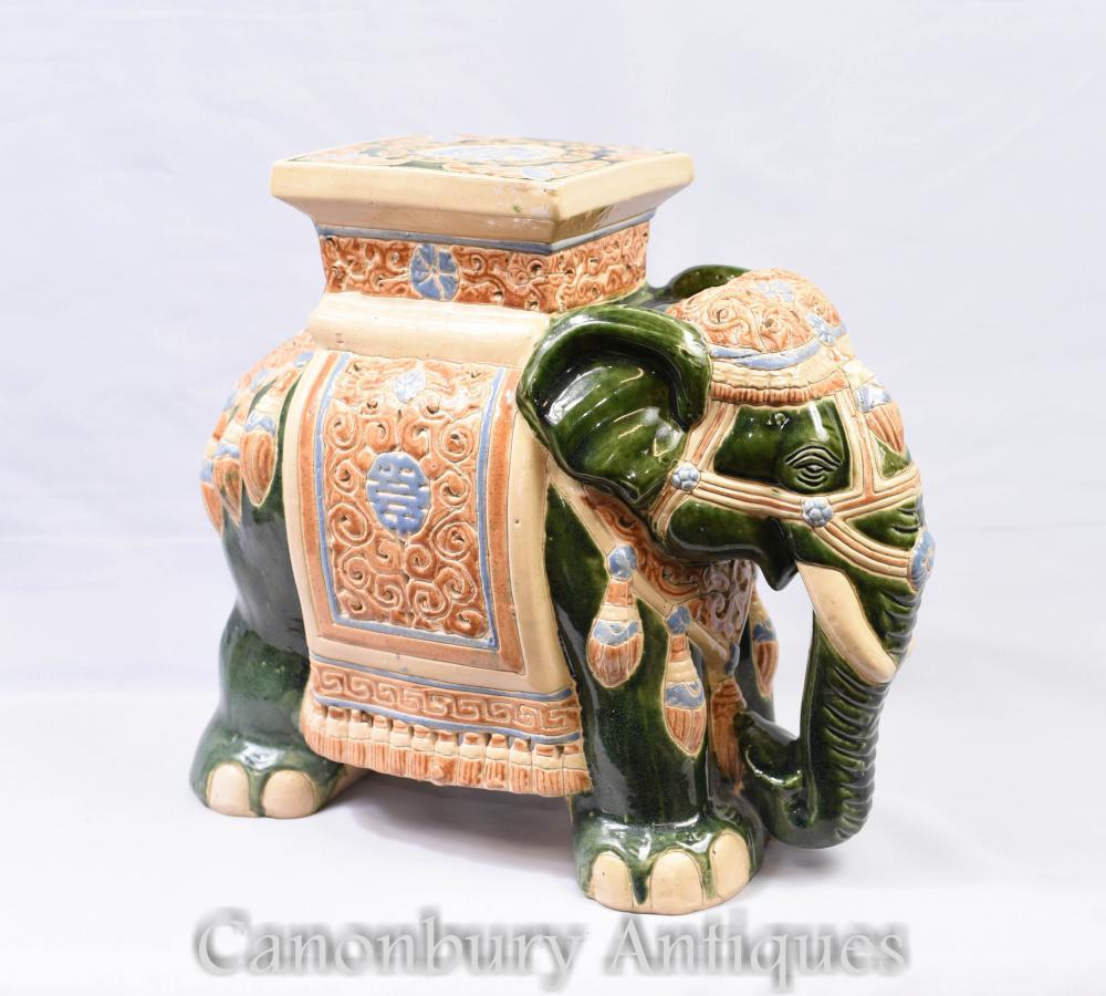 Anglais Majolica Pottery éléphant siège Raj