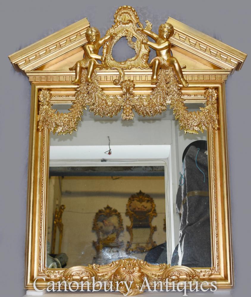 Anglais Palladian Gilt Pier Miroir Chérubins Neo Classique