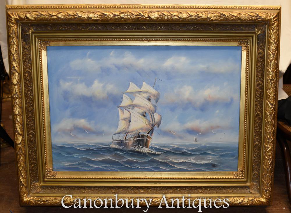 Anglais Peinture à l'huile Bateau Sea Scape Maritime Art