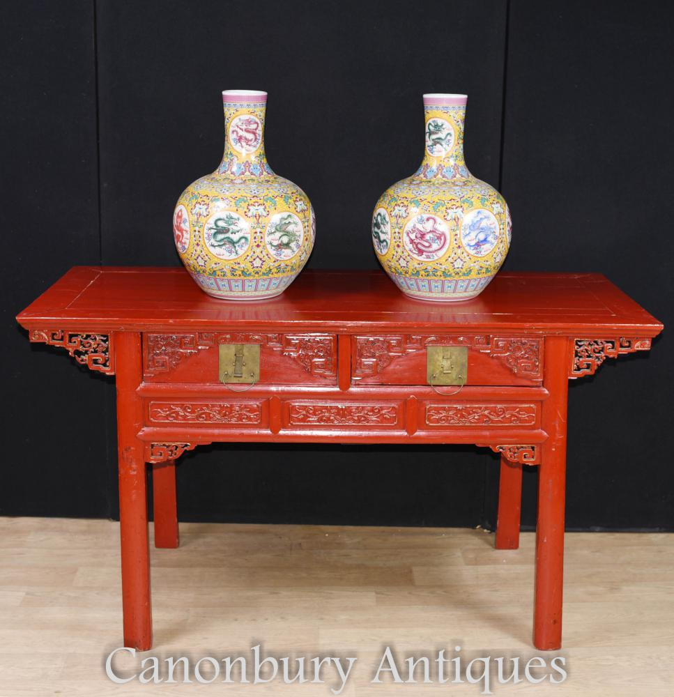 Antique Chinese Laque Rouge Cinnabar Temple Table Autel