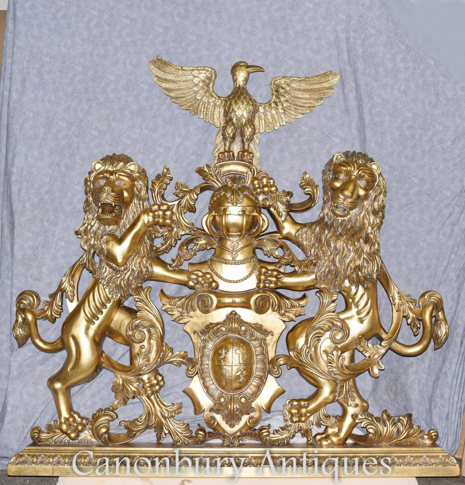 Armoiries dorées Armoiries anglaises Sculptées à la main héraldiques