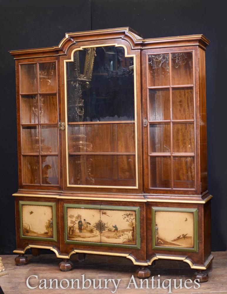 Bibliothèque de Cabinet d'Affichage Peinte Antique Gillows Circa 1890