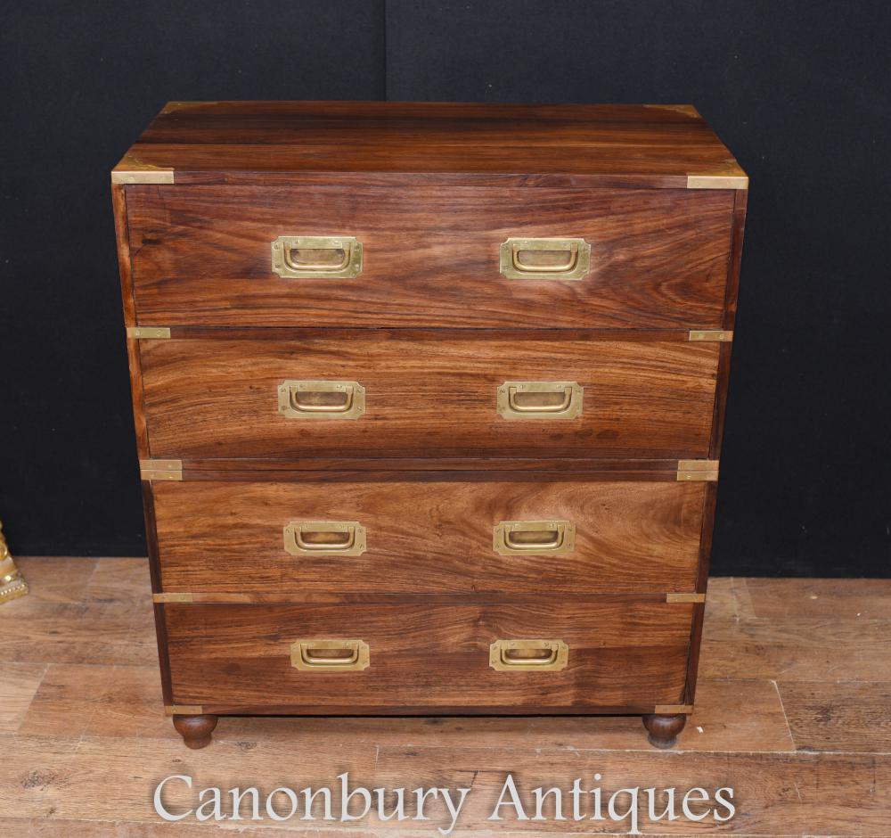 Bureau de secrétaire de tiroirs de coffre militaire antique de teck