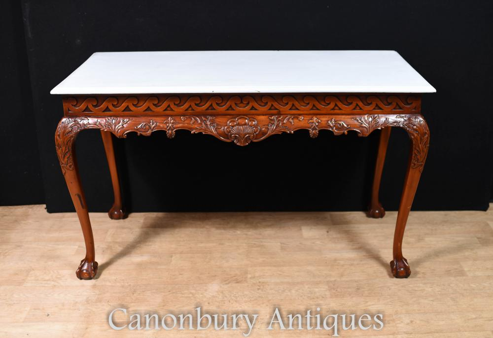 Console Mahogany Chippendale Table Console et Pattes Pieds