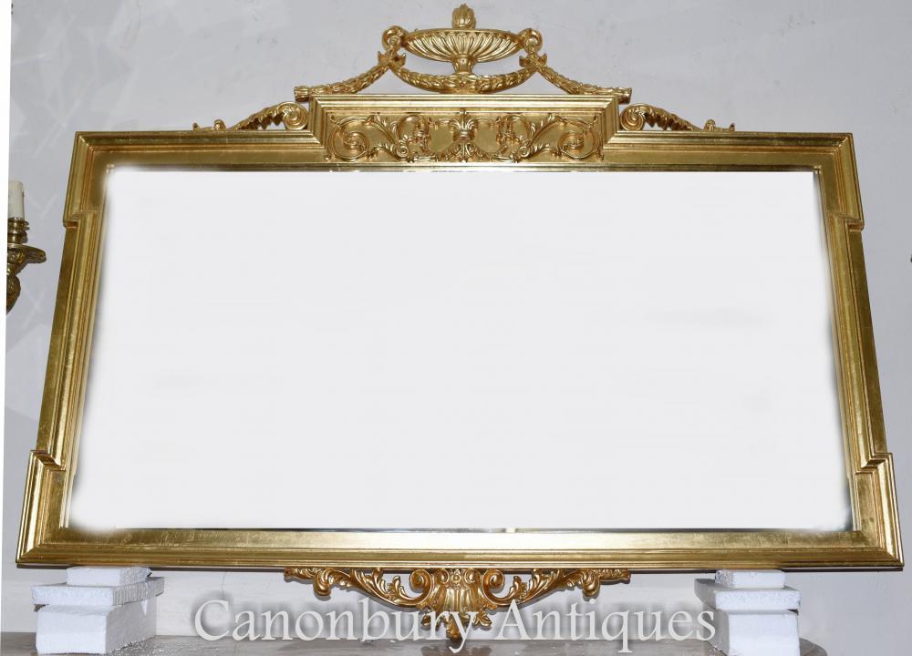 Grand miroir Regency Adams Mantle en verre doré