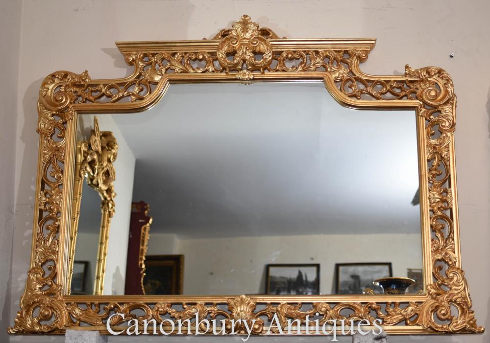 Grand miroir de manteau doré de Chippendale anglais