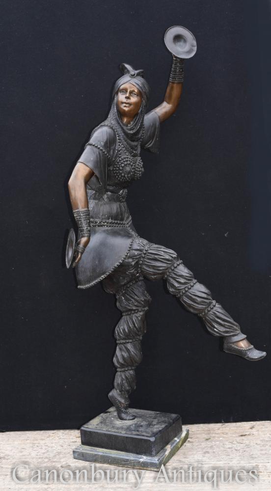 Lifesize Art Déco Bronze Chiparus Tambourin Danseuse Statue