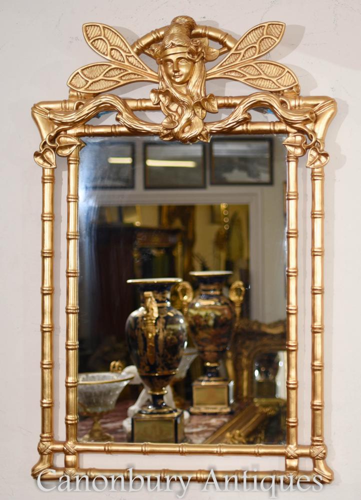 Miroir Art Déco Doré Miroir Libellule