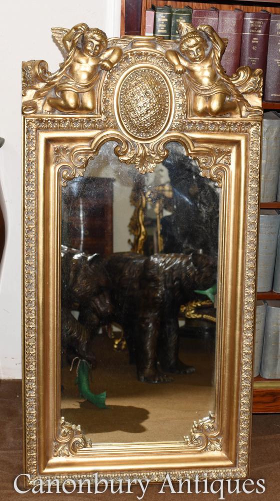 Miroir baroque orné de chérubins dorés