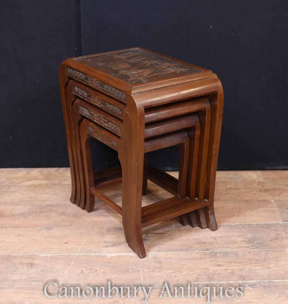 Nid chinois antique de tables Table d'appoint en bois franc vers 1900