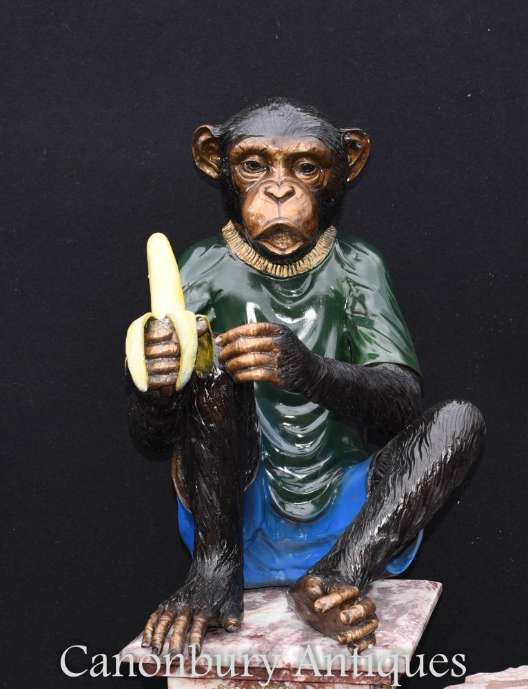 Paire De Statues De Singe Bronze Chimpanzé Ape