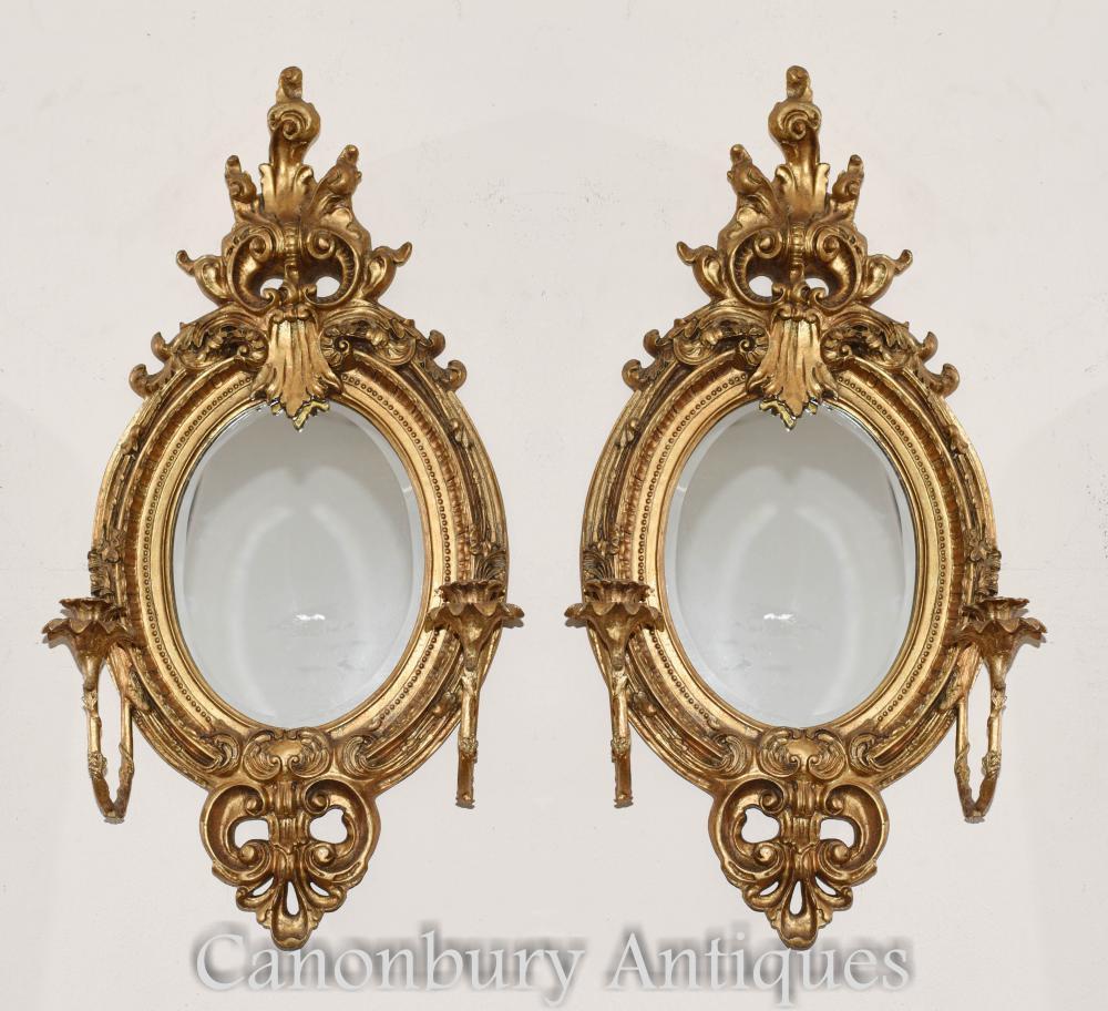 Paire Girandoles Dorées De Style Louis XVI