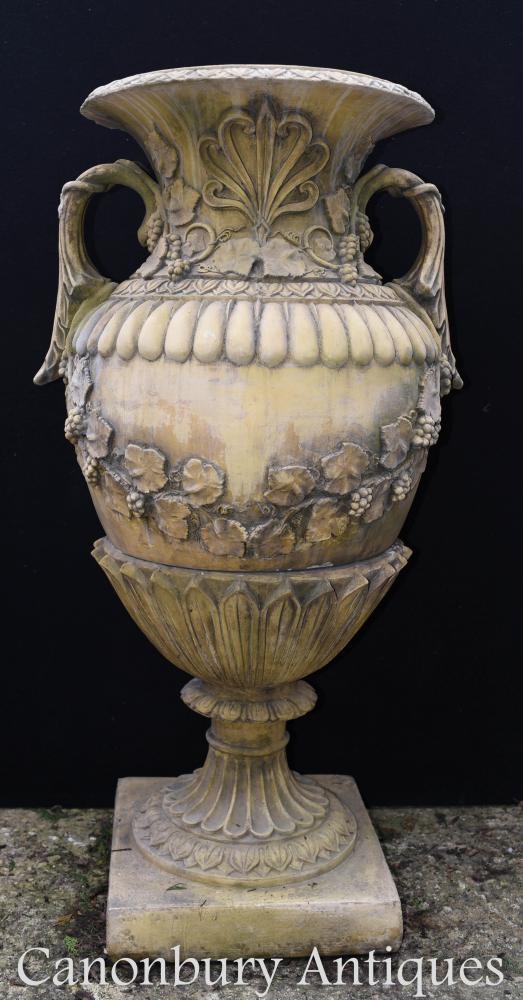 Paire Grand Vase Amphore Urnes De Jardin En Pierre Anglaise