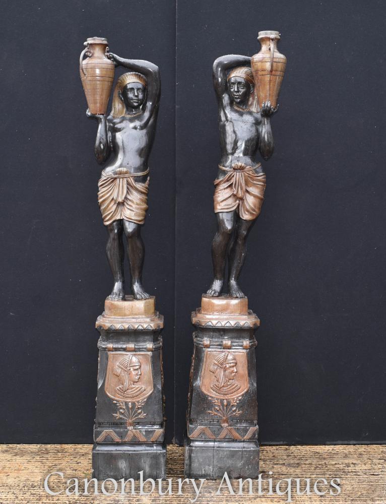 Paire Grandes Statues De Bronze Statues De Jardin De Blackamoor Statues