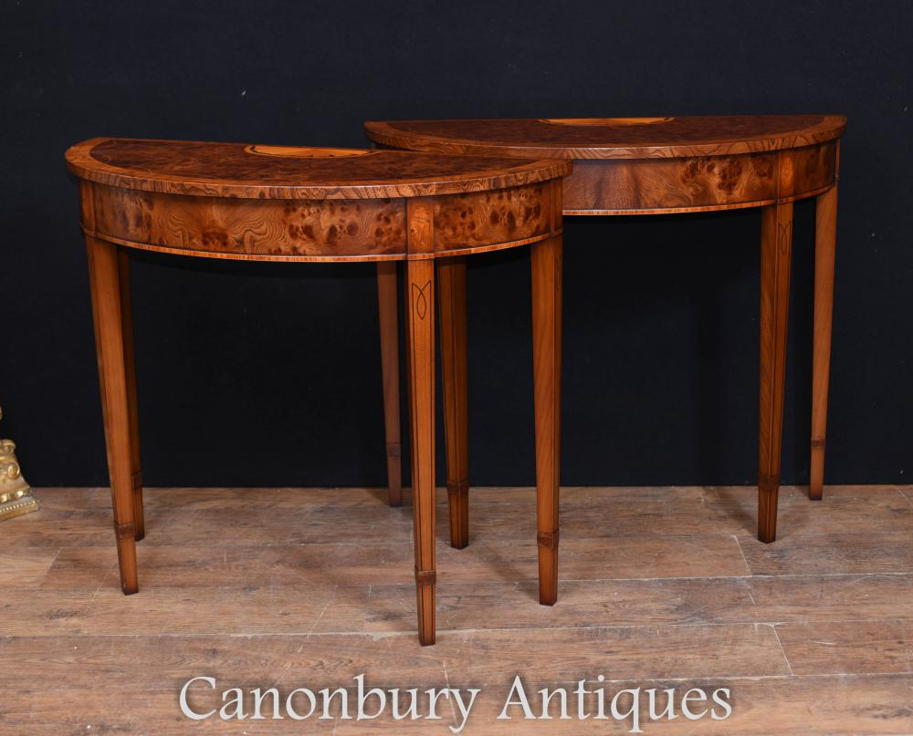 Paire Regency Adams Walnut Console Tables Demi Lune