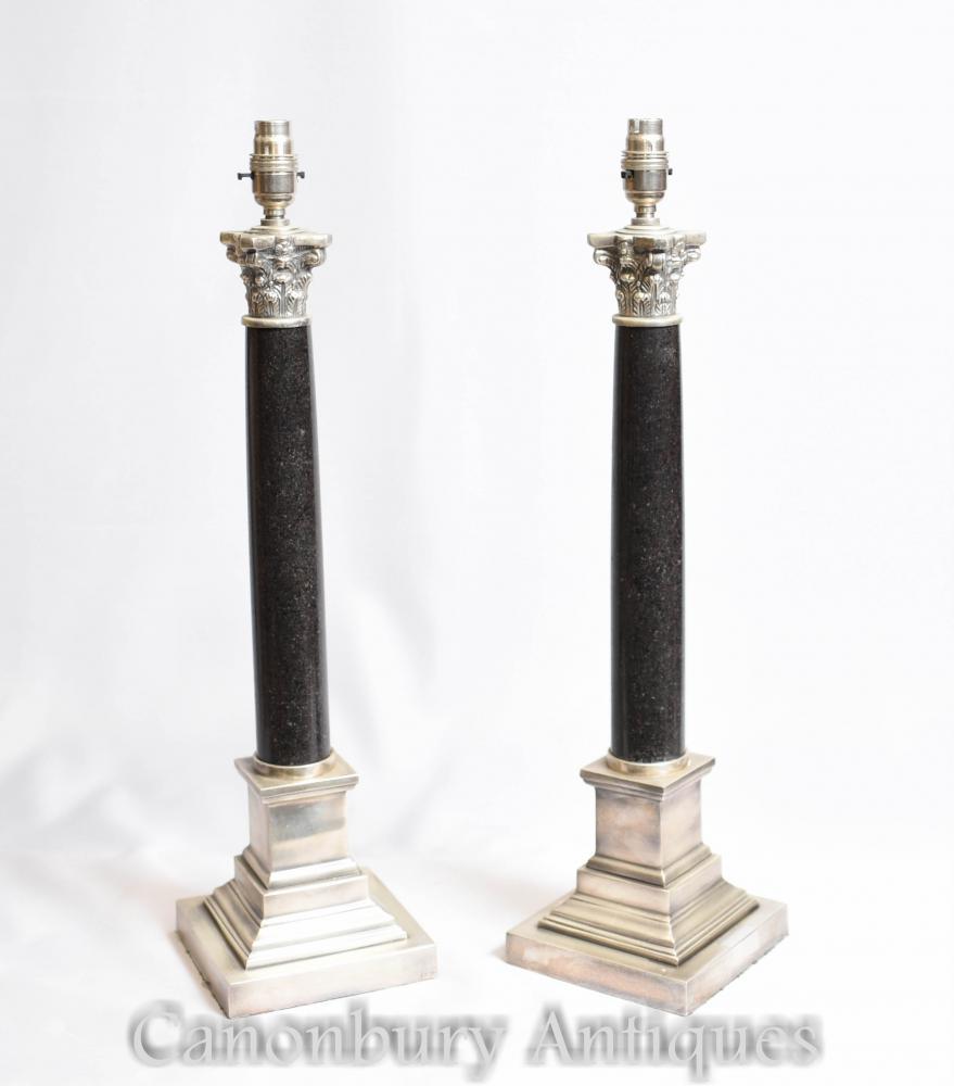 Paire Regency Corinthian Colonne Lampes De Table Lumières Argent Plaque