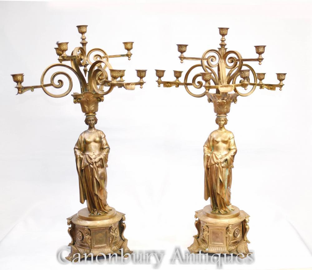 Paire de Candélabres Maiden en bronze doré