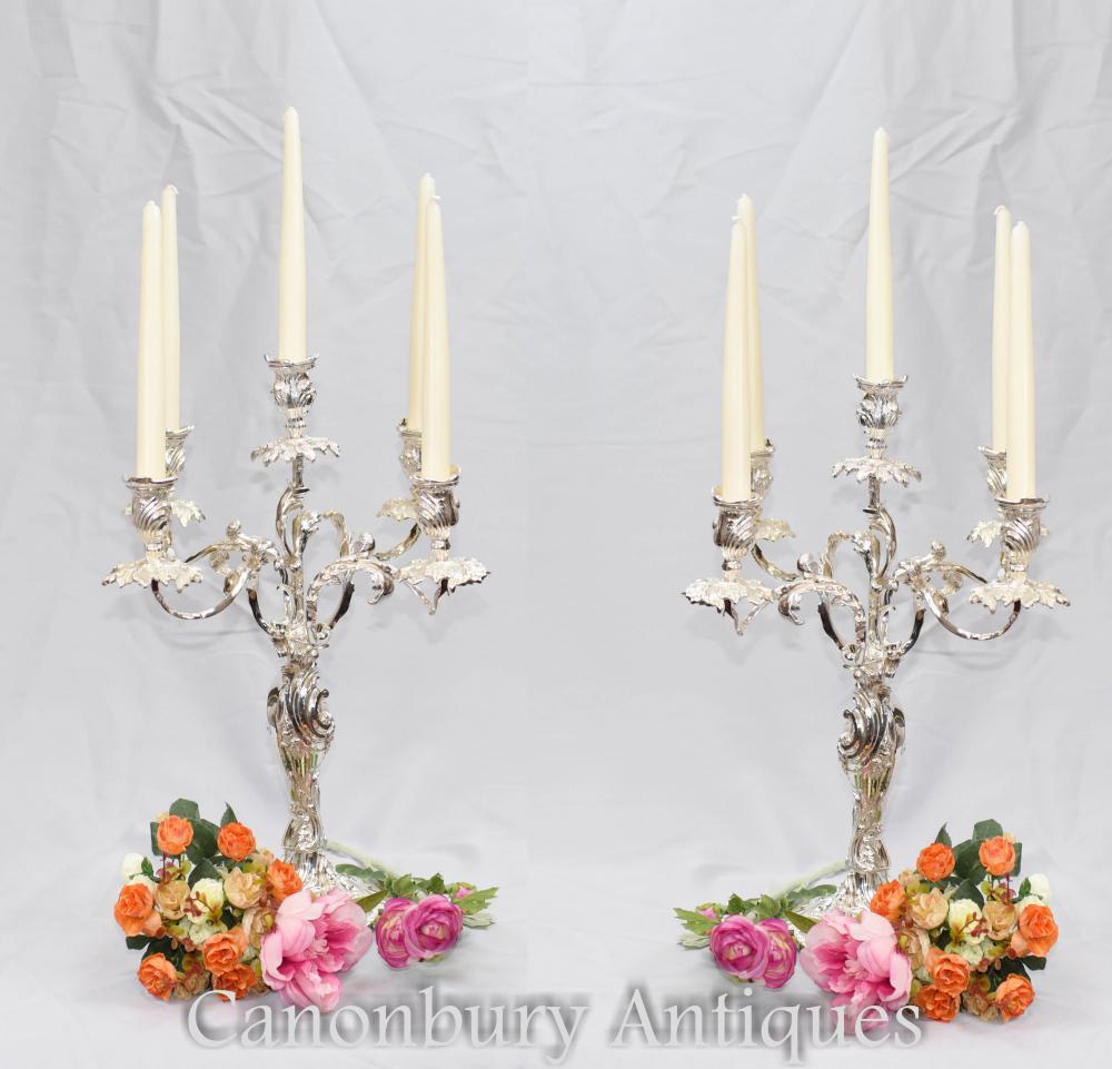Paire de Candélabres Rococo en Argent et Argent