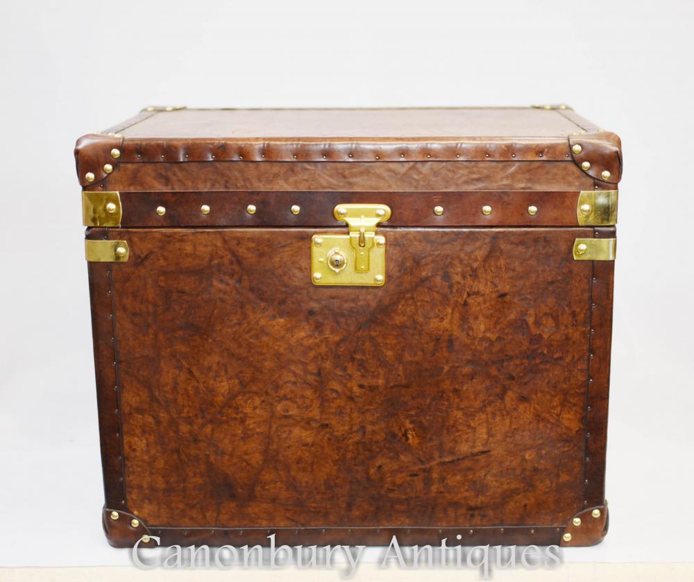 Paire de coffres à bagages en cuir anglais