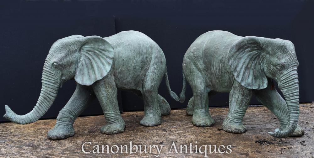 Paire de grandes fontaines d'eau Statues en éléphant en bronze