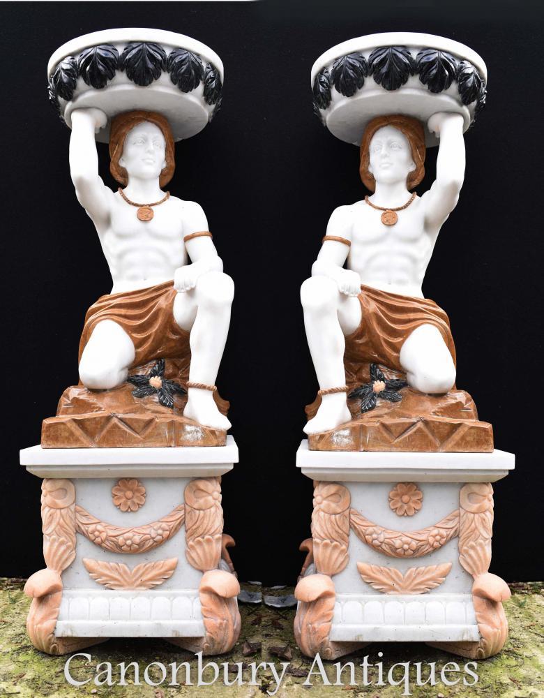 Paire de grandes statues en marbre Atlas Urnes Vases Statues de jardin