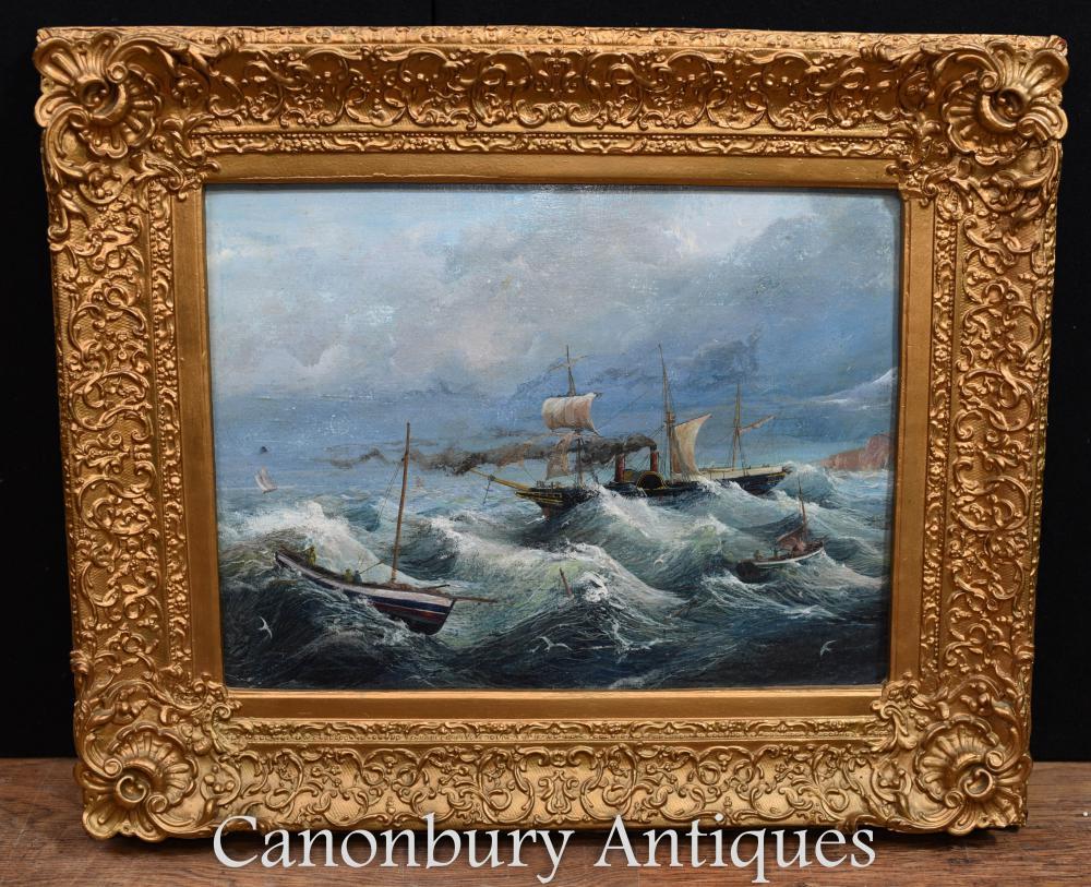 Peinture à l'huile française Stormy Seas Maritime Seascape